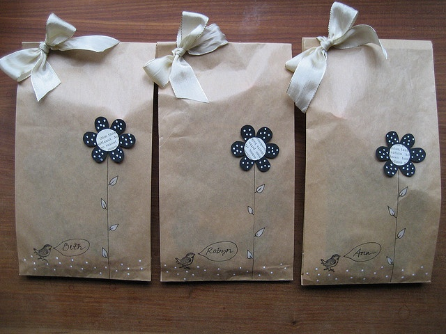 Simply pretty....I love brown paper bags for gift bags.