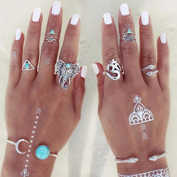 8 delige Ring Set Zilveren Ring Turquoise Ring Ring Set hij