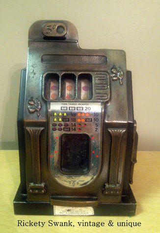 Vintage Slot Machine Bank - Casino Gaming Decor - Antique Poker Cards - Man Cave Piece