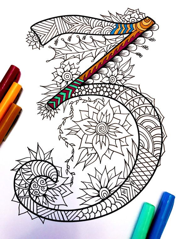 8.5x11 PDF coloring page of the number 3 - inspired by the font Harrington Fun for all ages. Relieve stress, or just relax and have fun using your favorite colored pencils, pens, watercolors, paint, pastels, or crayons. Print on card-stock paper or other thick paper (recommended).