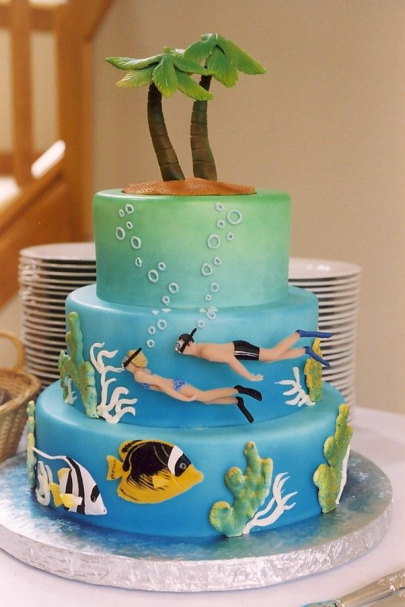 fishing wedding cake island lover or snorkel lover cake diving scuba sports 14290