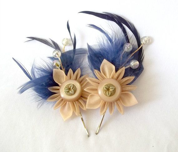 Kanzashi Feather Berry Bobby Pins by ScarlettandMaria on Etsy, $36.00