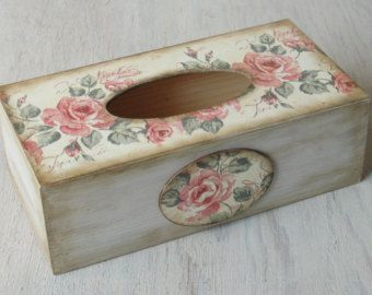 Wooden Tissue Box Cover. Tissue holder. Napkin box. Rose. Shabby  chic style.