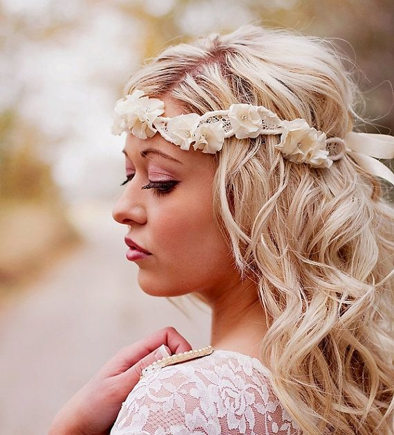 Ruffle Flower and Vintage Lace Wedding Halo Headband: Halo Headband, Wedding Hair, Headpiece, Wedding Ideas, Vintage Lace, Weddings, Lace Wedding, Hairstyle, Hair Style