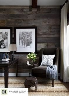 Distressed wood on the walls - masculine and rugged, perfect for the man cave