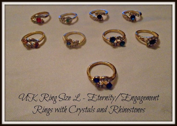 Engagement Eternity Dress Rings Gold Plated  Crystals & Rhinestones UK Size L