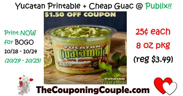 Publix sale starting 10/18 (10/19), Get 8 oz Guac for a quarter with this coupon! (reg $3.49)  Click the link below to get all of the details ► http://www.thecouponingcouple.com/high-value-yucatan-guacamole-coupon-plus-free-publix/ #Coupons #Couponing #CouponCommunity  Visit us at http://www.thecouponingcouple.com for more great posts!