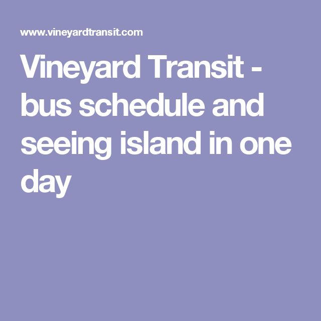 Vineyard Transit - bus schedule and seeing island in one day
