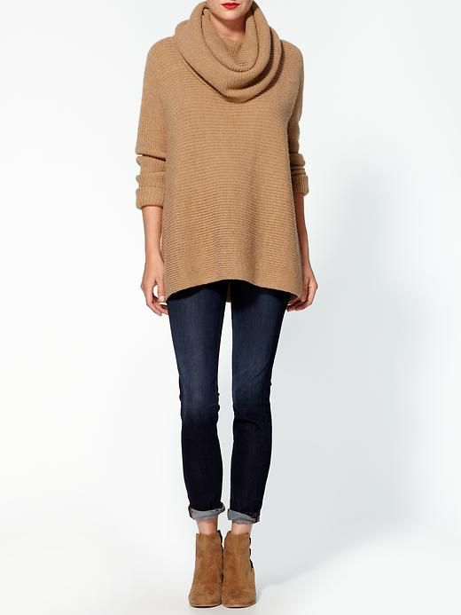 Comfy yet edgy: Skinny Jeans, Cowls Neck Sweaters, Horizontal Ribs, Ribs Sweaters, Fall Looks, Fall Outfits, Cowls Horizontal, Vince Cowls, Oversized Sweaters