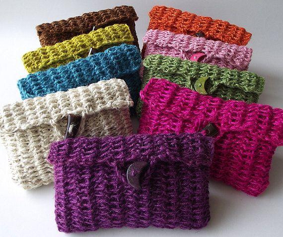 Crochet Bag Purse Pouch Cosmetic bag Jute by liliavaniniboutique, $22.50