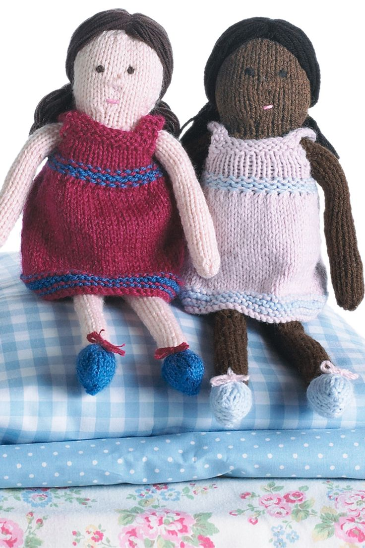 Two Knitted Dolls In Striped Dresses And Pretty Shoes With Bows Shop This  Knitting Pattern