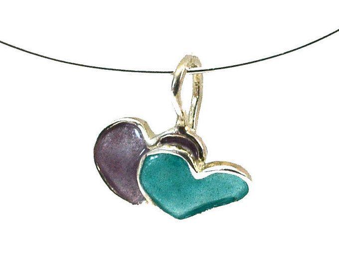 Double Heart Necklace, Heart Pendant, Enamel Heart Pendant, Red Heart Pendant, Heart Charm, Heart Valentine, Heart Jewelry, Giampouras