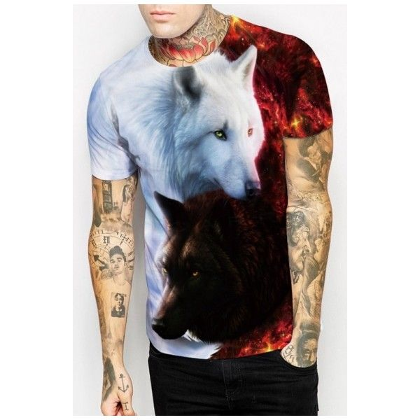Trendy 3D Wolf Pattern Short Sleeves Round Neck Pullover Casual Tee ($22) ❤ liked on Polyvore featuring tops, t-shirts, print t shirts, wolf print t shirt, wolf t shirt, round top and animal print tee