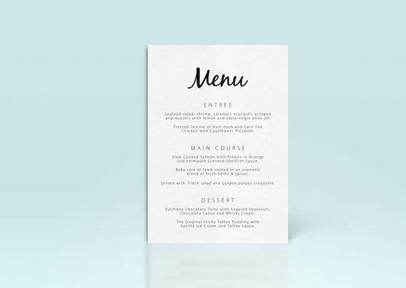Printable Wedding Menu Card Template DIY by 4theLoveofStationery