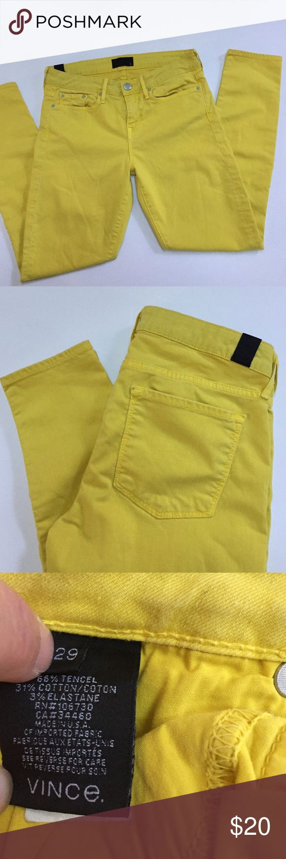 "Vince yellow skinny jeans This is a pair of gently worn skinny jeans from Vince. Size 29. Approximate length is 36.5"", approximate inseam is 27"" and approximate waist measurement is 15.5"". Vince Jeans Skinny"