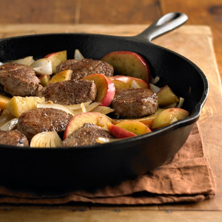 Braised Pork Medallions with Apples - Pork Recipes - Pork Be Inspired