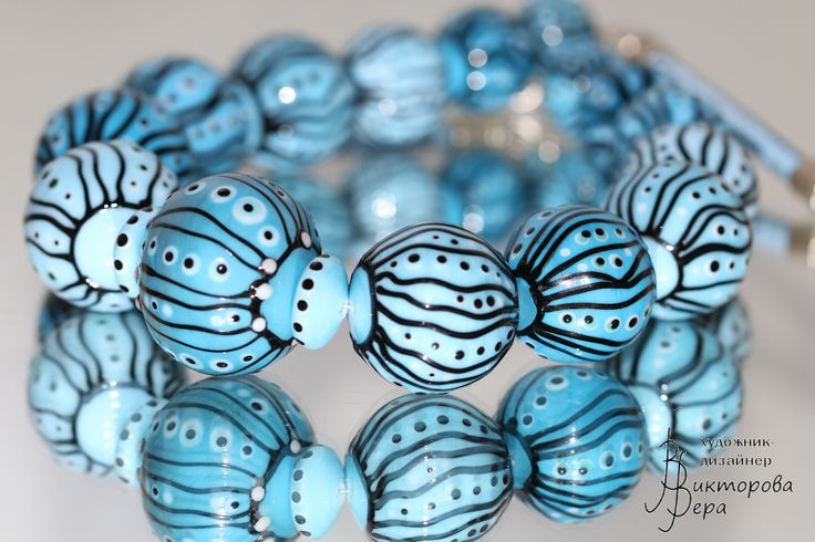 "Collection Necklace ""Magic graphics. Sky magic."" Artisan lampwork hollow beads, sterling silver."