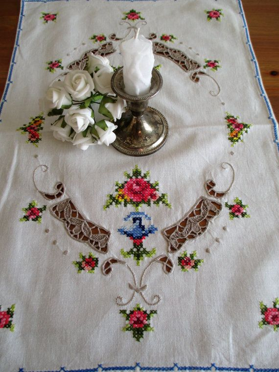 ON SALE 149. Vintage hand embroided kitchen placemat hand