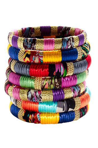 Bracelets!Mixed Fabre, Cara Accessories, Style, Bracelets, Colors, Jewelry, Jewels, Fabrics Bangles, Gold Bangles