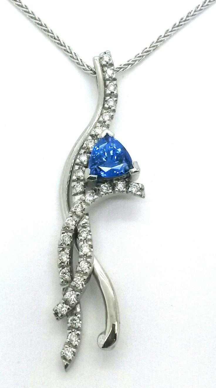 Custom made Tanzanite & Diamond pendant handcrafted by Havilah Designer Jewellers.