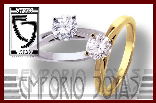 Anillos Solitario 01 Oro tono Amarillo de 18 kl.  o  Blanco de 18 kl. (liga sólo paladio). 100% libre de metales tóxicos. 01 diamante natural (legítimo) corte brillante de 40 puntos (0,40 ct. aprox.). Incluye estuche madera lacada, certificado de garantía y reporte técnico de brillante; primer ajuste a dedo, garantía de satisfacción (rehacer modelo con iguales materiales gratuitamente) http://www.emporiojoyas.cl/anl_comp_04.htm