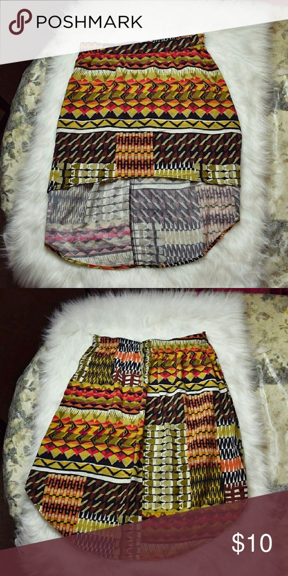 Super Cute Aztec Print High Low Skirt In excellent condition. Skirts High Low