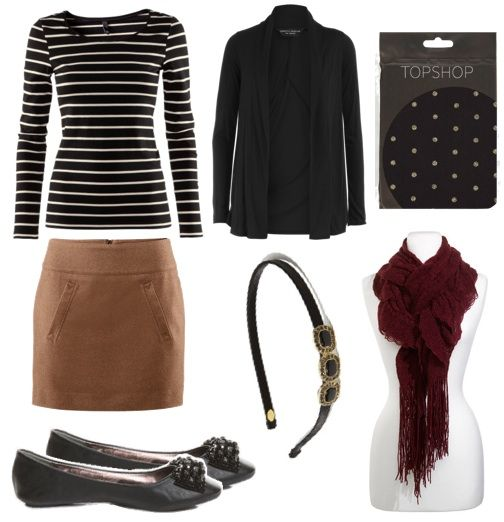 Here is another great layered fall look – this time, it incorporates a simple skirt, some fun polka-dot tights, and a classic long sleeved striped shirt. The layering pieces in this outfit are the burgundy scarf and black cardigan that you can use if needed — and if you need some more warmth for your legs, try wearing another pair of tights underneath this patterned pair. A simple black headband and flats put the finishing touches on the outfit.