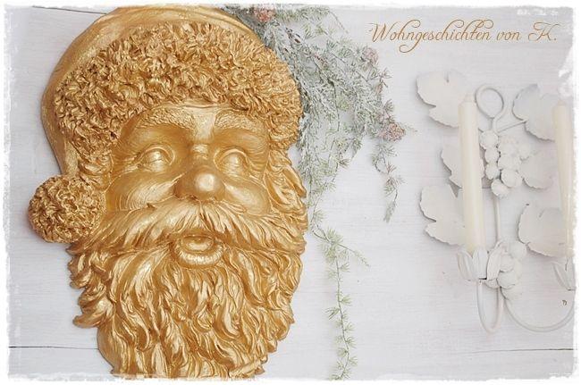 Große Weihnachtsdeko Weihnachtsmann Gold  von Wohngeschichten von K. auf DaWanda.com