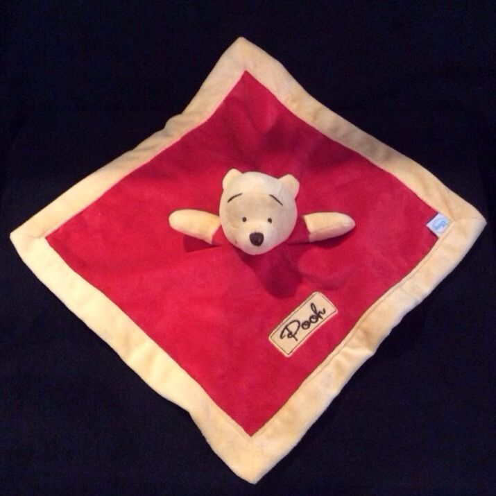 Winnie The Pooh Red Yellow Baby Security Blanket Disney Lovey Velour #Disney