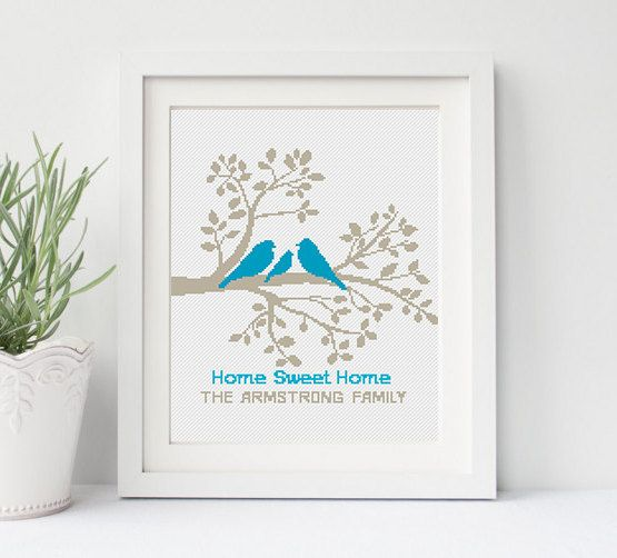 Family Tree Cross Stitch Pattern Persomalized Wedding gift Birds Love Home Sweet Home Modern PDF Pattern Counted Xstitch Easy