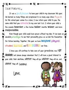 End of the year parents letter to send home with students. This is for kindergarten, 1st, and 2nd grade students. If you would like me to make one for another grade, please let me know. There are 8 different versions for each grade level. There is a generic colorful version as well as a black and white version (except for the clip art kids), as well as a more personable version, which allows you to write a note to each individual child.