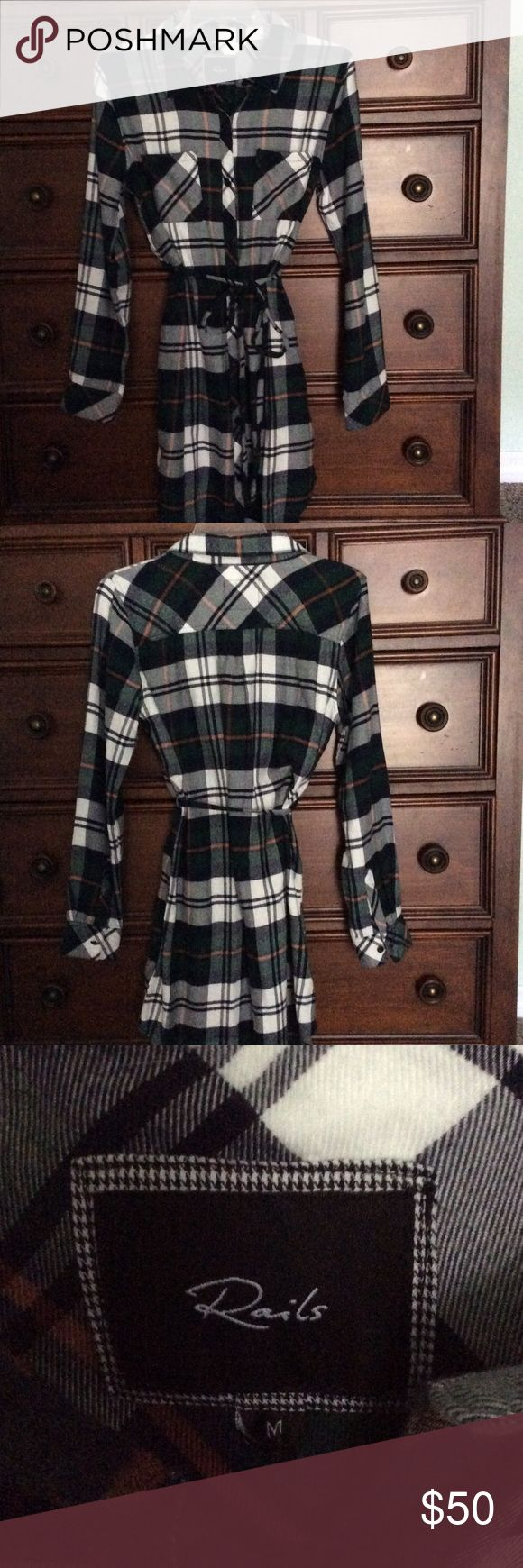 """Rails brand flannel shirt dress perfect condition This is a flannel shirt dress perfect condition, Colors are green navy orange and white. Made by Rails, this is not cheap flannel that will shrink and fade ❣️❣️ very soft nice flannel, buttons all the way down has two front pockets and a tie belt. Measurements are, shoulder to shoulder is 17"""" arm pit to arm p is 16""""  length is 35 1/2 """" long 😊 comes from a smoke free home. Rails Dresses Midi"""