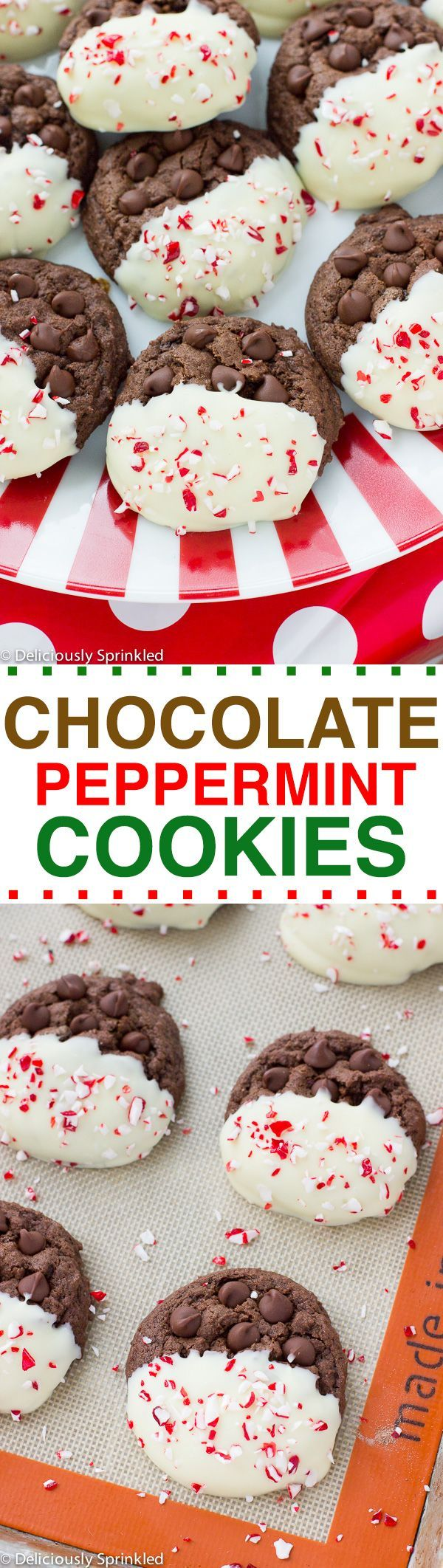 Chocolate Peppermint Cookies- easy Christmas cookie recipe