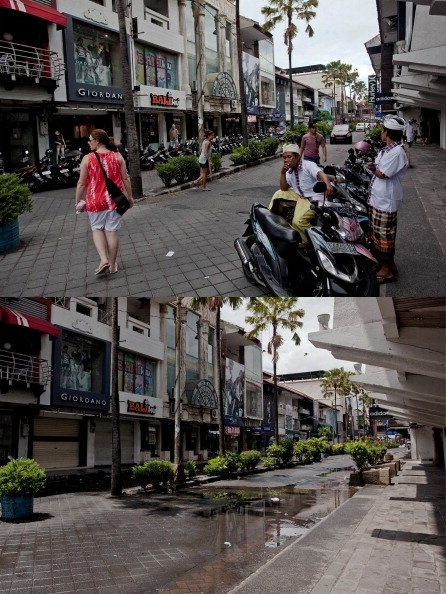 In this composite image an active Kuta Square area is seen on March 9, 2013 and bottom, the same street is seen on Nyepi day on March 12, 2013 in Denpasar, Bali