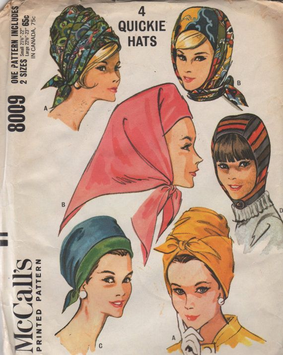 McCalls 8009 1960s Misses Quickie Hats Pattern Turban, Hood, Scarf, Beehive, Helmet, womens vintage sewing pattern by mbchills