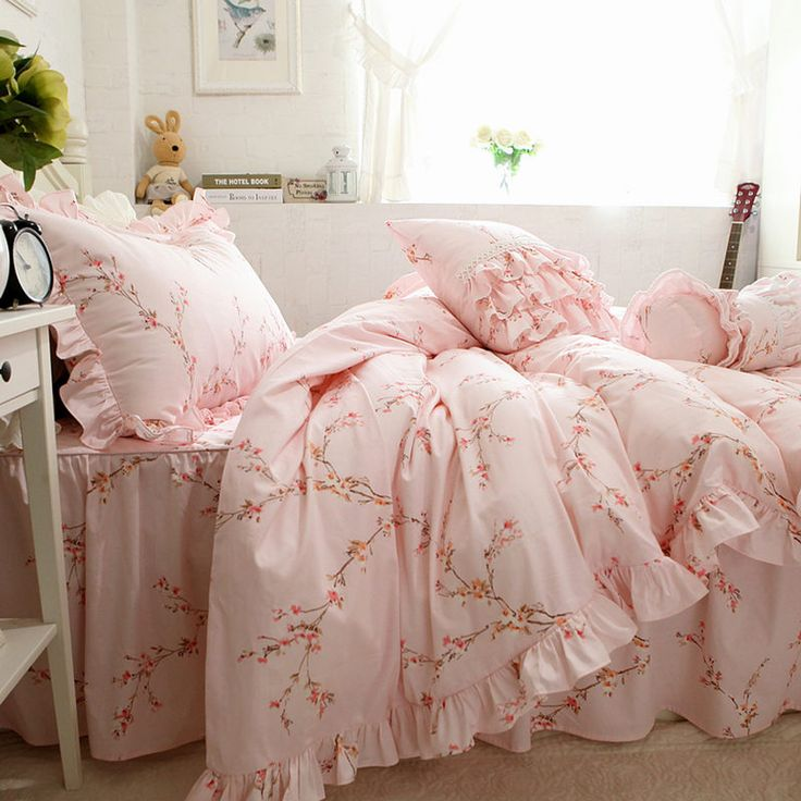 ==> [Free Shipping] Buy Best Pink and Green Plum flower print bedding set big ruffle duvet cover handmade bed sheet skirt type princess rustic bedspread sale Online with LOWEST Price | 32813566713