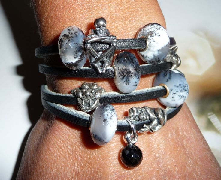 A stunning leather design bracelet with Agate Dendritic and the NEW Skeleton Bead! From a TBGForum member!