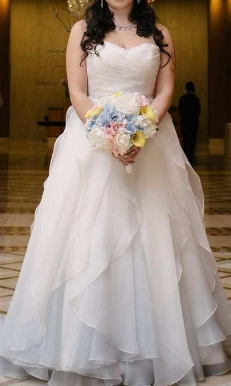 Modern Trousseau 'Laurel' size 8 used wedding dress front view on bride