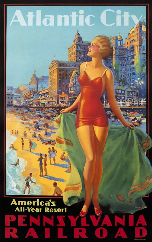 Atlantic City - America's All Year Resort - Pennsylvania RR by Eggleston, Edward | Vintage Posters at International Poster Gallery.  Atlantic City in its heyday.