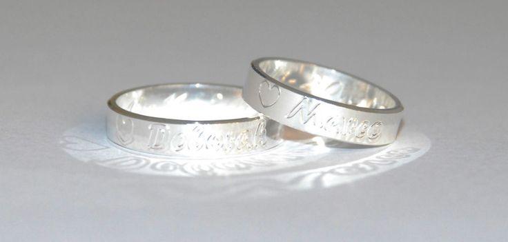 2 Anelli fedine fidanzamento francesina argento con incisione personalizzabile