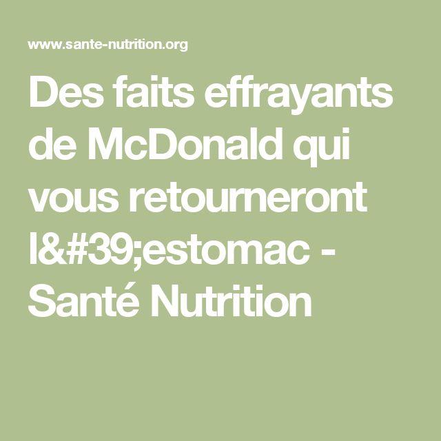 Des faits effrayants de McDonald qui vous retourneront l'estomac - Santé Nutrition