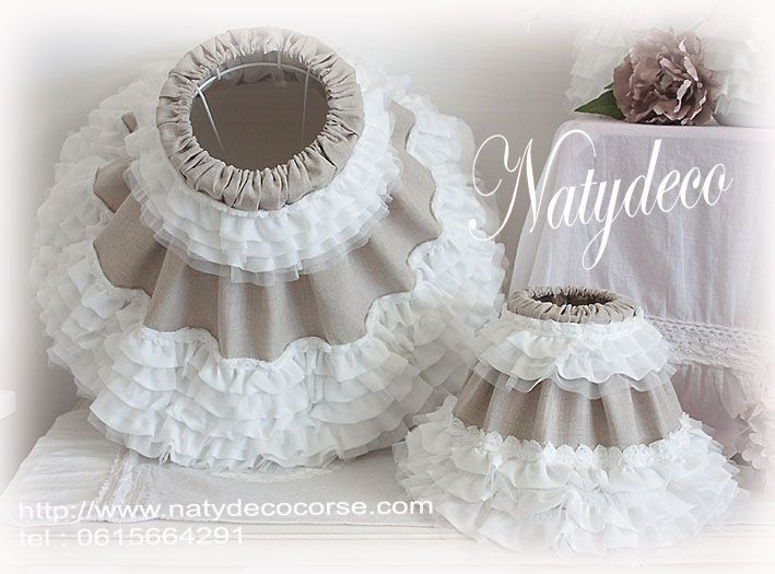 abat jour diamètre 45 ou D25  lin et frou frou avec le collier frou frou blanc entièrement déhoussable et lavable en vente sur http://www.natydecocorse.com