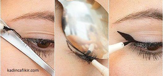 Kaşıkla eyeliner sürme tekniğinin yapılışı   Kadınca Fikir