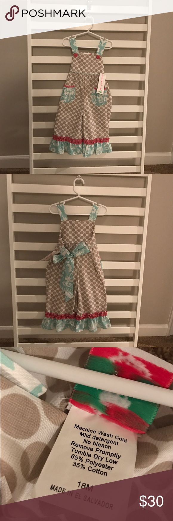Shrimp and grits kids overall Overall, snaps in bottom, ties in back, ruffles on pants, new with tags Shrimp and Grits Kids One Pieces