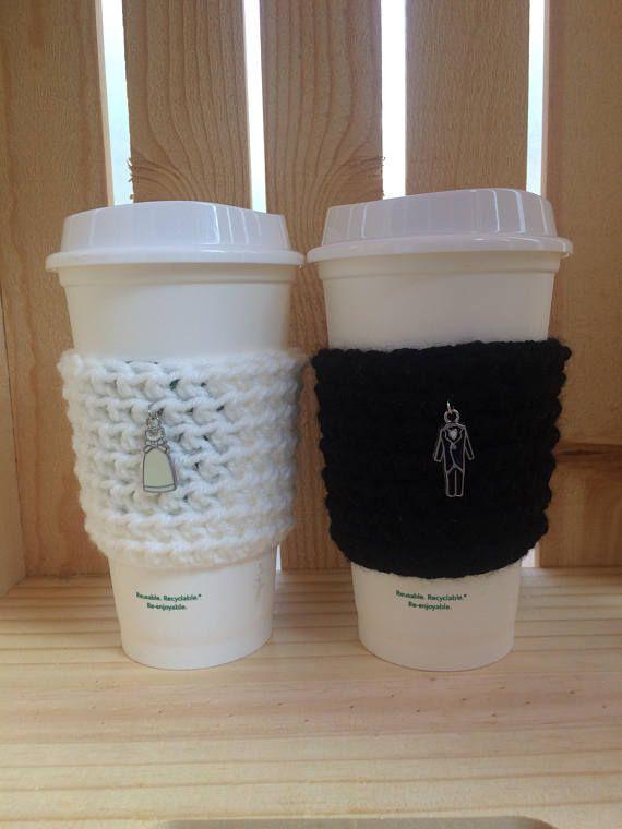 bride groom crochet knit coffee sleeve cozy set of 2 starbucks