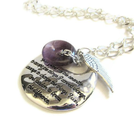 Serenity Prayer Necklace with Wing & Amethyst - Lemonberry Lane