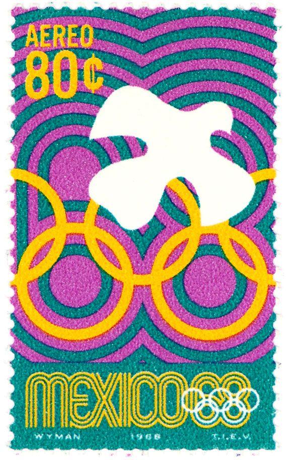 Estampilla Conmemorativa de 80 centavos de los Juegos Olímpicos de Mexico 68.  Mexico 68 Postage Stamp .