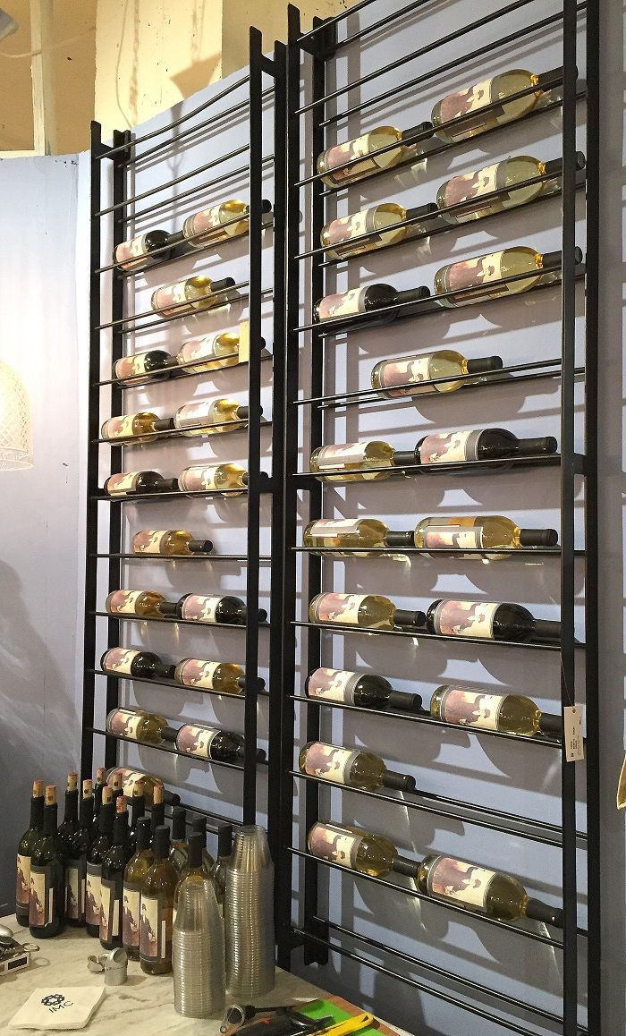 Space saving wine rack wall wine rack metal wine rack for Wine cellar pinterest