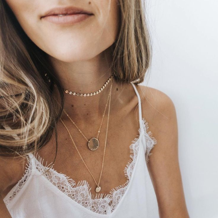 Bethany Menzel in Made by Mary gold necklaces