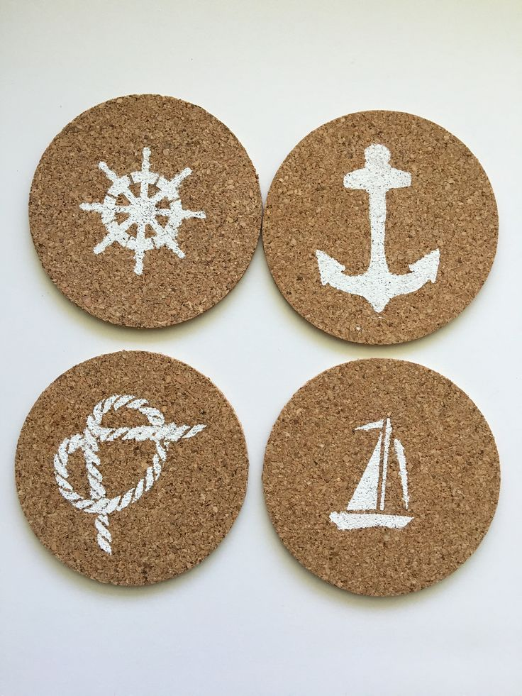 Nautical Themed Cork Coasters, Beach and Coastal Coasters